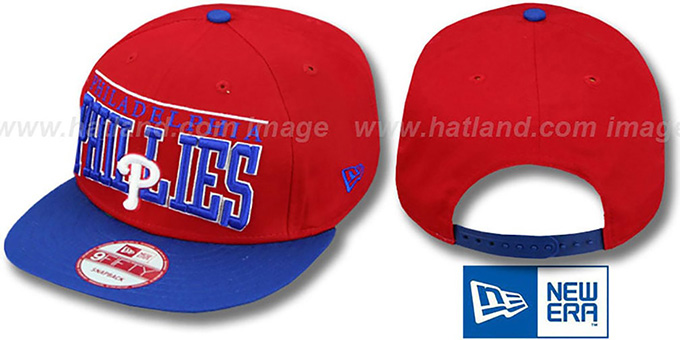 Phillies 'LE-ARCH SNAPBACK' Red-Royal Hat by New Era : pictured without stickers that these products are shipped with