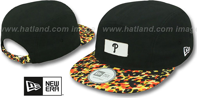 Phillies 'LEOPARD CAMPER STRAPBACK' Black Hat by New Era : pictured without stickers that these products are shipped with