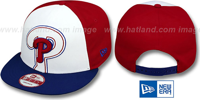 Phillies 'LITTLE-BIG POP SNAPBACK' White-Red-Royal Hat by New Era : pictured without stickers that these products are shipped with