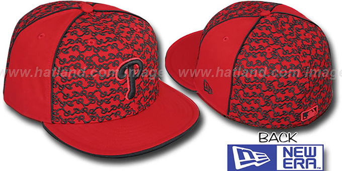 Phillies 'LOS-LOGOS' Red-Black Fitted Hat by New Era : pictured without stickers that these products are shipped with