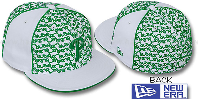 Phillies 'LOS-LOGOS' White-Green Fitted Hat by New Era : pictured without stickers that these products are shipped with