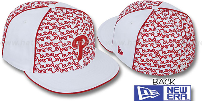Phillies 'LOS-LOGOS' White-Red Fitted Hat by New Era : pictured without stickers that these products are shipped with