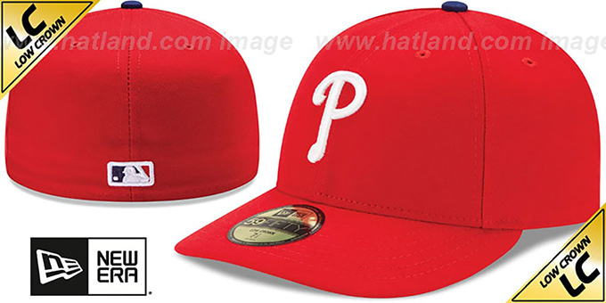 Phillies 'LOW-CROWN' HOME Fitted Hat by New Era : pictured without stickers that these products are shipped with