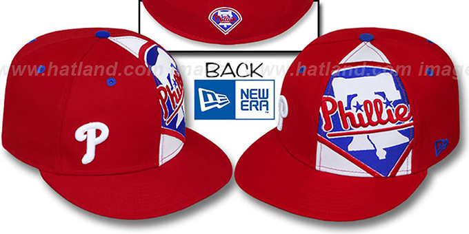 Phillies 'MASCOT-ZOOM' Red Fitted Hat by New Era : pictured without stickers that these products are shipped with