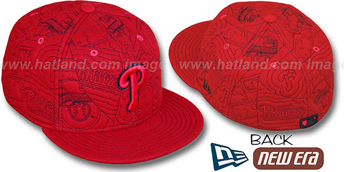 Phillies 'MELTON PUFFY' Red Fitted Hat by New Era : pictured without stickers that these products are shipped with