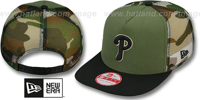 Phillies 'MESHED CAMO SNAPBACK' Army-Black Hat by New Era : pictured without stickers that these products are shipped with