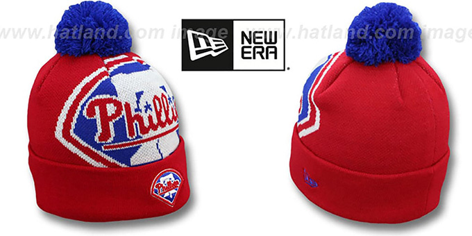Phillies 'MLB-BIGGIE' Red Knit Beanie Hat by New Era : pictured without stickers that these products are shipped with