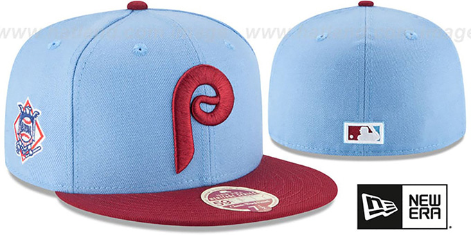 Phillies 'MLB COOPERSTOWN WOOL-STANDARD' Sky-Burgundy Fitted Hat by New Era : pictured without stickers that these products are shipped with