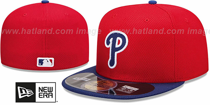 Phillies 'MLB DIAMOND ERA' 59FIFTY Red-Royal BP Hat by New Era : pictured without stickers that these products are shipped with