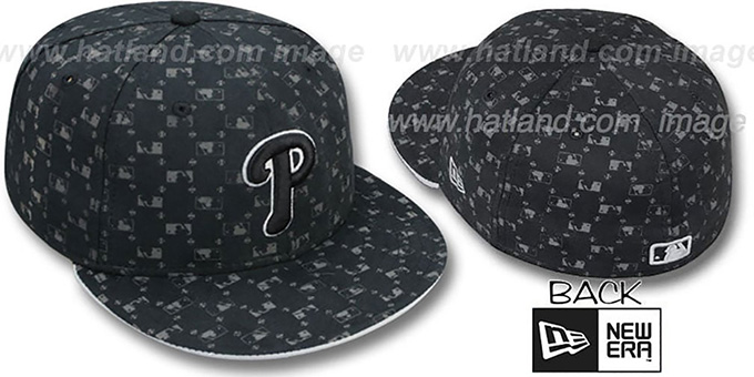 Phillies 'MLB FLOCKING' Black Fitted Hat by New Era : pictured without stickers that these products are shipped with