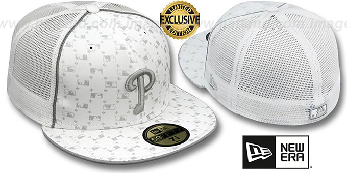 Phillies 'MLB FLOCKING' MESH-BACK White Fitted Hat by New Era : pictured without stickers that these products are shipped with