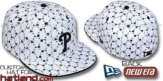Phillies 'MLB FLOCKING' White-Black Fitted Hat by New Era : pictured without stickers that these products are shipped with