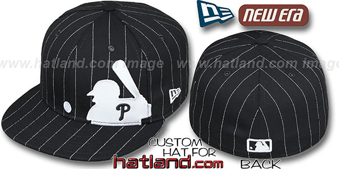 Phillies 'MLB SILHOUETTE PINSTRIPE' Black-White Fitted Hat by New Era : pictured without stickers that these products are shipped with