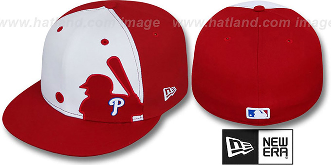 Phillies 'MLB SILHOUETTE' White-Red Fitted Hat by New Era : pictured without stickers that these products are shipped with