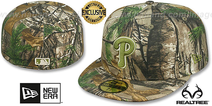 Phillies 'MLB TEAM-BASIC' Realtree Camo Fitted Hat by New Era : pictured without stickers that these products are shipped with