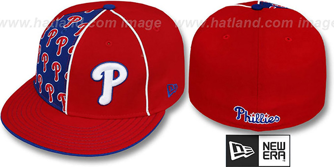 Phillies 'MULTIPLY' Red-Royal Fitted Hat by New Era : pictured without stickers that these products are shipped with