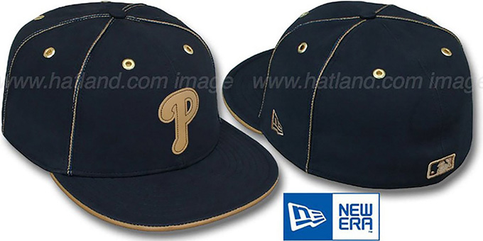 Phillies 'NAVY DaBu' Fitted Hat by New Era : pictured without stickers that these products are shipped with