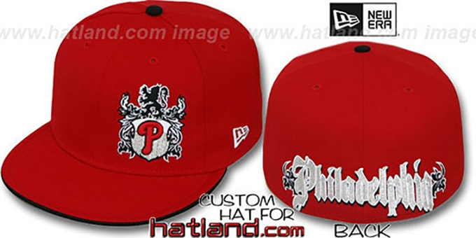 Phillies 'OLD ENGLISH SOUTHPAW' Red-Black Fitted Hat by New Era : pictured without stickers that these products are shipped with