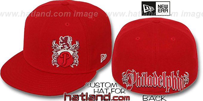 Phillies 'OLD ENGLISH SOUTHPAW' Red-Red Fitted Hat by New Era : pictured without stickers that these products are shipped with