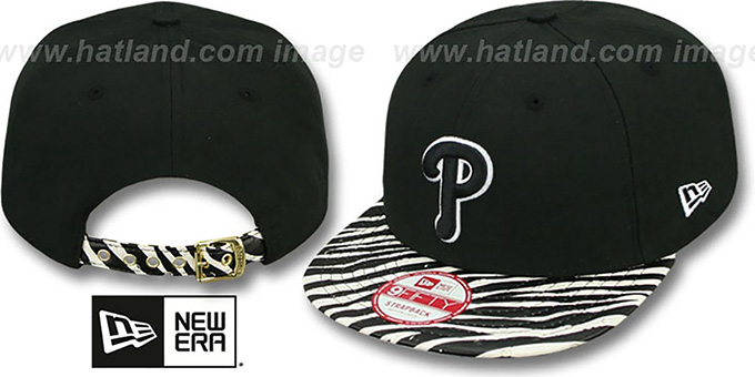 Phillies 'OSTRICH-ZEBRA STRAPBACK' Hat by New Era : pictured without stickers that these products are shipped with