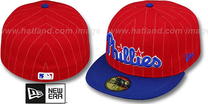 Phillies 'PIN-SCRIPT' Red-Royal Fitted Hat by New Era : pictured without stickers that these products are shipped with