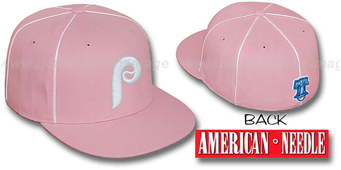 Phillies 'PINK CADDY' Fitted Hat by American Needle : pictured without stickers that these products are shipped with