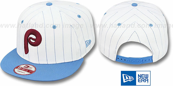 Phillies 'PINSTRIPE BITD SNAPBACK' White-Sky Hat by New Era : pictured without stickers that these products are shipped with