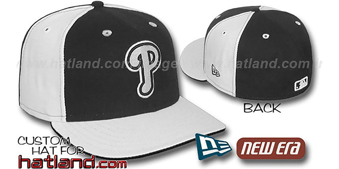 Phillies 'PINWHEEL' Black-White Fitted Hat by New Era : pictured without stickers that these products are shipped with
