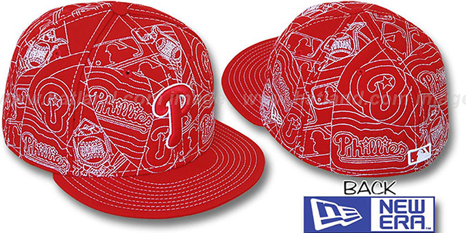 Phillies 'PUFFY REMIX' Red-White Fitted Hat by New Era : pictured without stickers that these products are shipped with
