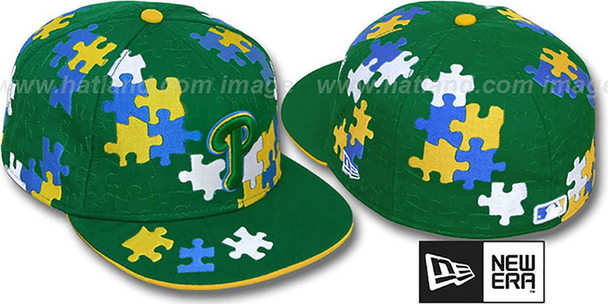 Phillies 'PUZZLE' Green Fitted Hat by New Era : pictured without stickers that these products are shipped with