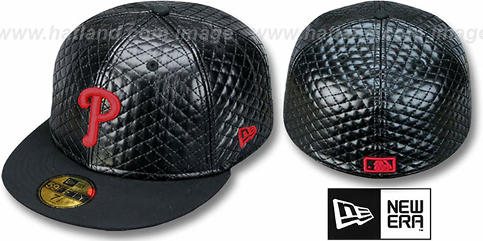 Phillies 'QUILTE' Black Fitted Hat by New Era : pictured without stickers that these products are shipped with