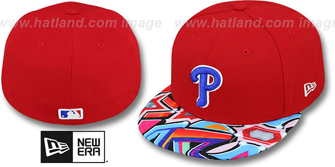Phillies 'REAL GRAFFITI VIZA-PRINT' Red Fitted Hat by New Era : pictured without stickers that these products are shipped with