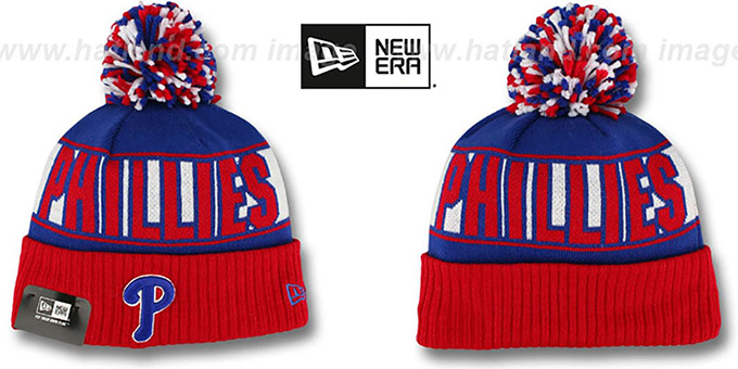 Phillies 'REP-UR-TEAM' Knit Beanie Hat by New Era : pictured without stickers that these products are shipped with