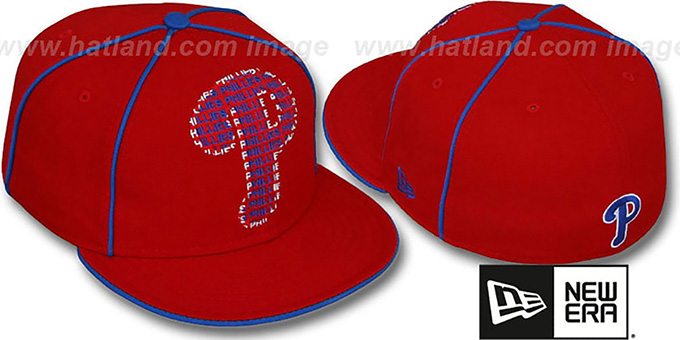 Phillies 'REPEAT BIG-ONE' Red Fitted Hat by New Era : pictured without stickers that these products are shipped with