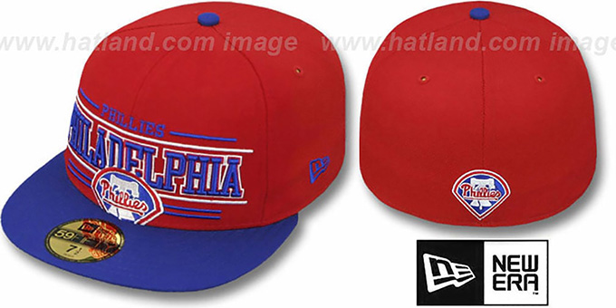Phillies 'RETRO-SMOOTH' Red-Royal Fitted Hat by New Era : pictured without stickers that these products are shipped with