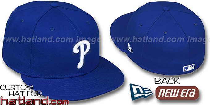 Phillies 'ROYAL-WHITE' Fitted Hat by New Era : pictured without stickers that these products are shipped with