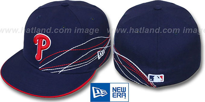 Phillies 'RUNNING JETSTREAM' Navy Fitted Hat by New Era : pictured without stickers that these products are shipped with