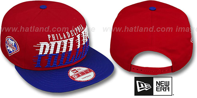 Phillies 'SAILTIP SNAPBACK' Red-Royal Hat by New Era : pictured without stickers that these products are shipped with
