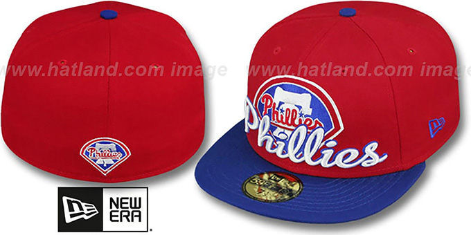 Phillies 'SCRIPT-PUNCH' Red-Royal Fitted Hat by New Era : pictured without stickers that these products are shipped with