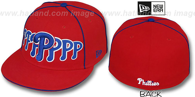 Phillies 'SEVEN' Red Fitted Hat by New Era : pictured without stickers that these products are shipped with