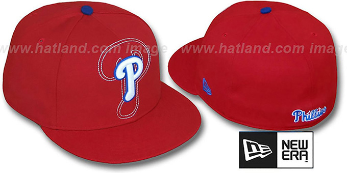 Phillies 'SHADOW BIG-ONE' Red Fitted Hat by New Era : pictured without stickers that these products are shipped with