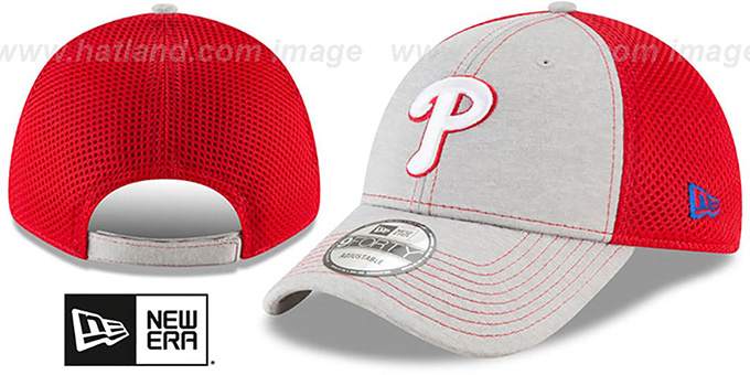 Phillies 'SHADOW TURN STRAPBACK' Grey-Red Hat by New Era : pictured without stickers that these products are shipped with