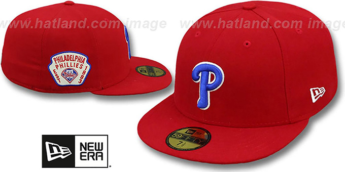 Phillies 'SIDE TEAM-PATCH' Red Fitted Hat by New Era : pictured without stickers that these products are shipped with