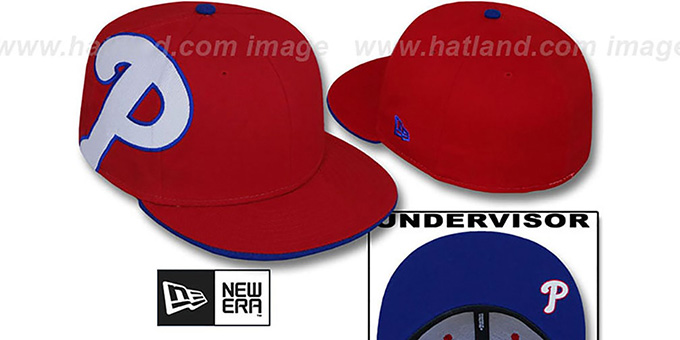 Phillies 'SIDEWINGER' Red Fitted Hat by New Era : pictured without stickers that these products are shipped with
