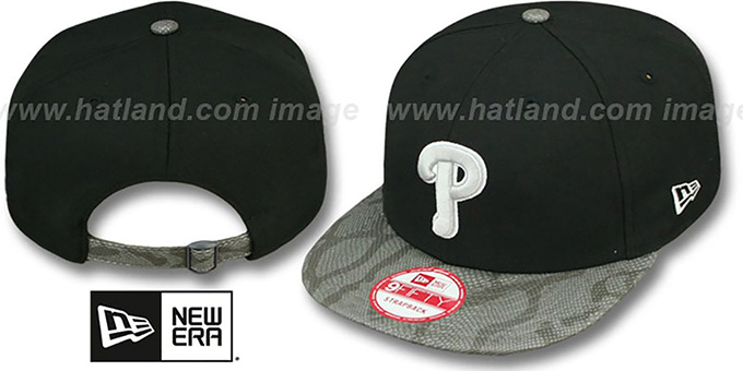 Phillies 'SNAKE-THRU STRAPBACK' Black-Grey Adjustable Hat by New Era : pictured without stickers that these products are shipped with