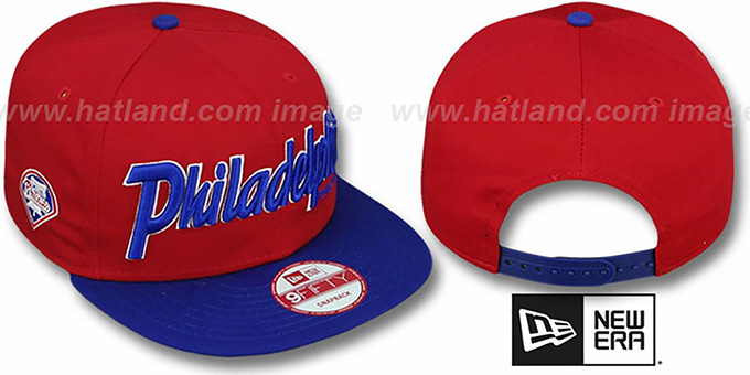 Phillies 'SNAP-IT-BACK SNAPBACK' Red-Royal Hat by New Era : pictured without stickers that these products are shipped with