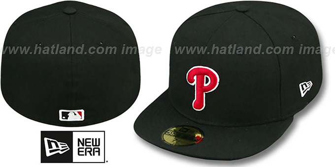 Phillies 'SOLID TEAM-BASIC' Black-Red Fitted Hat by New Era : pictured without stickers that these products are shipped with