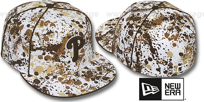 Phillies 'SPLATTER' White-Brown Fitted Hat by New Era : pictured without stickers that these products are shipped with