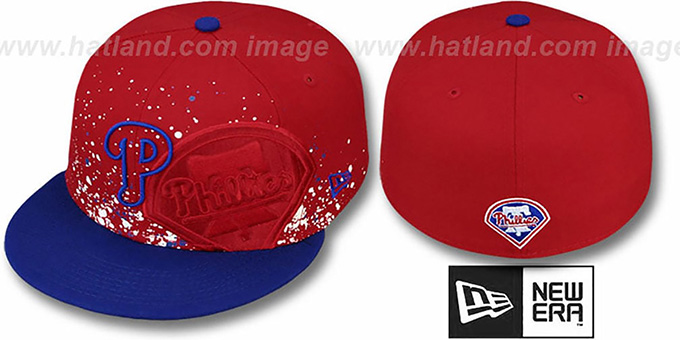 Phillies 'SPLATZ' Red-Royal Fitted Hat by New Era : pictured without stickers that these products are shipped with