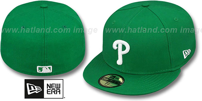 Phillies 'St Patricks Day 2' Green-White Fitted Hat by New Era : pictured without stickers that these products are shipped with